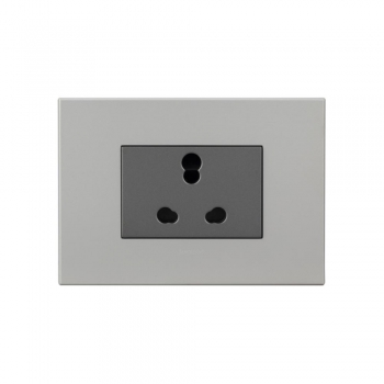 Magnesium Socket Shuttered-6-16 A- 3 Pin Universal India 3 Module-1